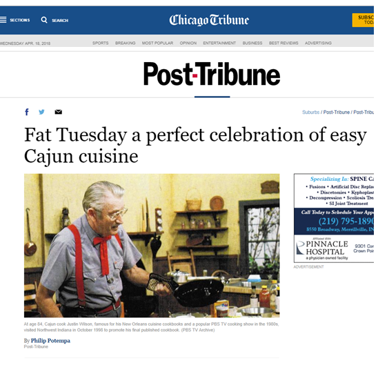 Chicago Tribune Article On Justin Wilson Cajun Chef